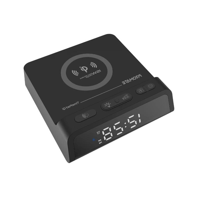 ساعة رقمية مع قاعدة شحن لاسلكي لشحن أكثر من جهاز في نفس لوقت